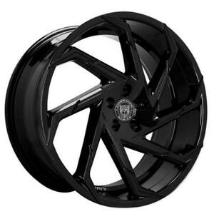 4ea 24 Lexani Wheels Cyclone Gloss Black Rims s6