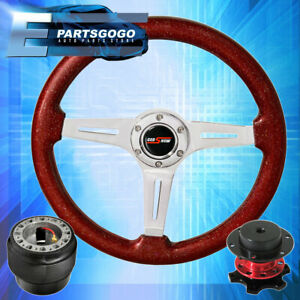 Metallic Red Wood Deep Dish Steering Wheel Red Quick Release For 90 97 Miata