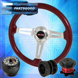 Red Wood Deep Dish Steering Wheel Quick Release Extender For 90 97 Miata