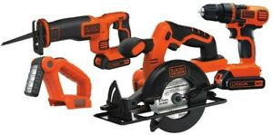 BLACK - DECKER 20-Volt 4-Tool Power Tool Combo Kit 2-Batteries and Charger