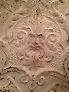 24 X 24 Antique Ceiling Tin Tile With Green Man Face Very Rare