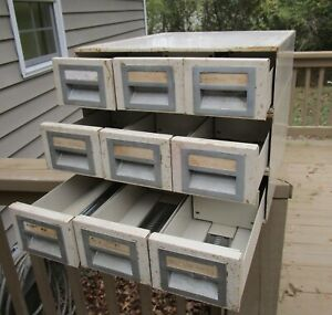 Vintage 9 Drawer Library Filing Card Metal Cabinet Parts Nuts Bolts Storage Bin