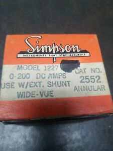 Vintage Simpson Dc Amps Meter Gauge 0 200 No Shunt Included