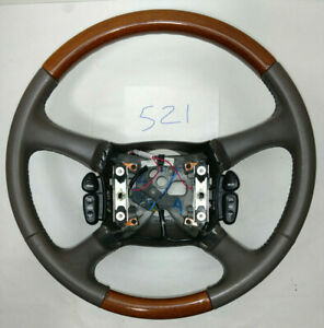 2002 Cadillac Escalade Steering Wheel Wood Grain And Leather