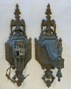 Pair Of Antique Early 1900s Electric Metal Wall Sconces Light Fixtures Leviton