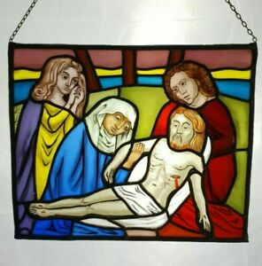 Antique Leaded Stained Glass Window Panel Descent Of Jesus Christ E 0371