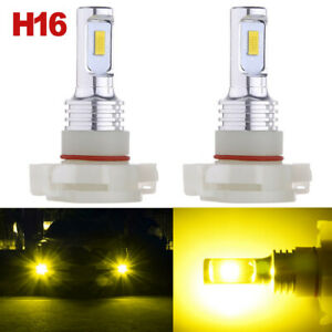5202 H16 Led Fog Light Bulbs For 2007 2015 Chevy Silverado 1500 Yellow 3000k 70w