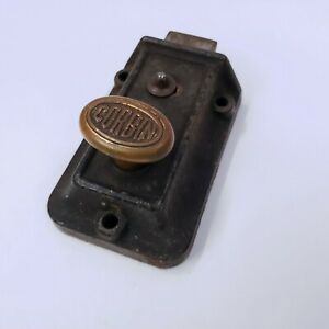 Corbin Door Lock Brass Metal Latch Twist Vintage Antique Surface Mount Deadbolt
