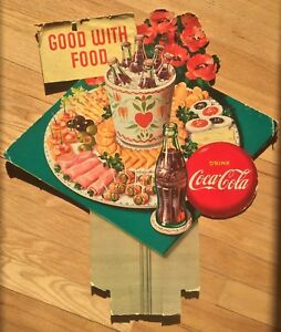 Coca Cola Sign 1950s Good With Food Cardboard Lithograph Vintage Coke Litho Rare