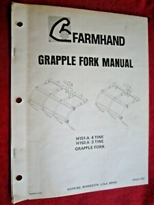 Farmhand 4 tine H151 a 3 tine H153 a Grapple Fork Assembly Parts Manual