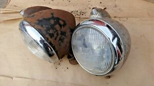 Guide 682 C Headlights Original Pair Custom Rod Ford Chevy Plymouth Dodge Gmc