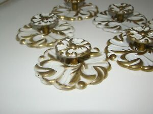 Vintage Brass White Enameled French Provincial Drawer Pull Knob Lot Of 8