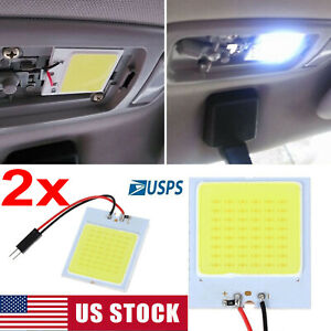 2x White 48 Smd Cob Led T10 4w 12v Car Interior Panel Light Dome Lamp Bulb Usa