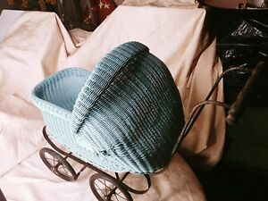 Antique Wicker Baby Buggy Stroller Carriage Doll Old Vintage Blue