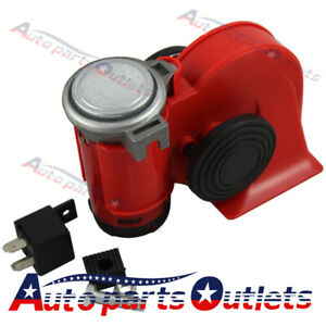 Universal 12v Super Loud Red Twin Auto Machine Air Horn 139db Motorcycle Car New