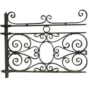 Antique French Beaux Arts Wrought Iron Architectural Grille Panel 19th Century