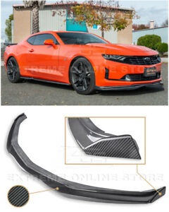 For 19 Up Camaro Rs Ss T6 Style Carbon Fiber Front Lip Splitter Side End Cap