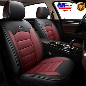 Us 2pc Black Red Car Front Leather Seat Covers Cushion For Vw Golf Jetta Passat