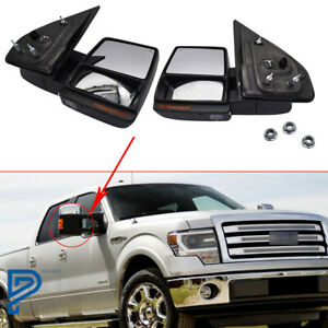 For 2007 2014 Ford F150 Power heated signal puddle Telescoping Tow Mirror Pair
