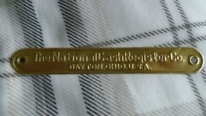 Original No 2 National Cash Register Brass Base Tag
