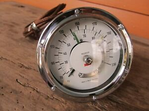 Nos 4 1 2 Motometer Ivory Temperature Gauge W Control Pointers Race Car Cool