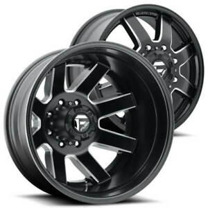 4ea 24 Fuel Wheels D538 Maverick Dually Matte Black Milled Off Road Rims S6