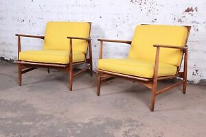 Ib Kofod Larsen For Selig Danish Modern Sculpted Teak Lounge Chairs Pair