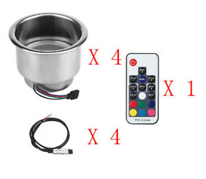 4pcs 14 Led Rgb Stainless Steel Cup Drink Holder Remote Control Boat Car Truck