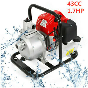 43cc 1 7hp Petrol High Flow Water Transfer Pump Irrigation 2 Stroke Portable Us