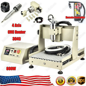 Us 4 Axis Cnc 3040t Router Engraver Engraving Drilling Milling Machine 800w Rc