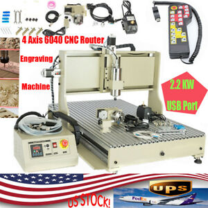 6090 Usb 4 Axis Cnc Router Engraver 2 2kw Engraving Milling Machine W controller