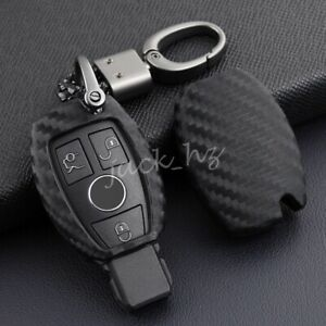 For Mercedes Benz W204 W205 W212 X156 W166 Carbon Fiber Car Key Fob Case Cover