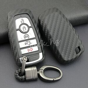 Carbon Fiber Smart Key Fob Case Cover Chain For Ford Fusion F150 Explorer Mondeo