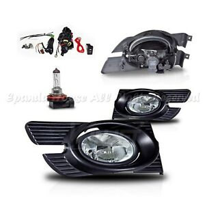 For 98 02 Honda Accord 4dr Clear Lens Usa Fog Lights Assemblies Direct Fit Kit