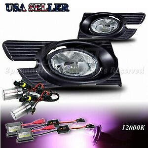 For 98 02 Honda Accord 4dr Clear Lens Usa Fog Lights Assemblies 12000k Hid Kit