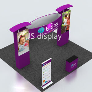 20ft Fabric Trade Show Display Exhibition Booth With Counter And Roll Up Banner