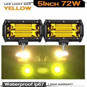 2x 5 Led Work Light For Truck Boat Atv Offroad Bumper Driving Pods Lights Amber