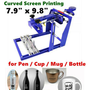 7 9 X 9 8 Manual Cylinder Curved Screen Printing Press For Pen Cup Mug