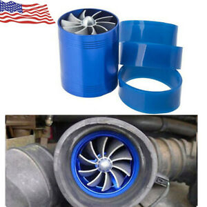 Car Double Air Intake Turbine Turbo Supercharger Gas Fuel Saver Fan Charger Us