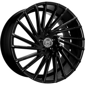 4ea 24 Lexani Wheels Wraith Gloss Black Rims s9