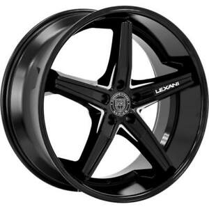 4ea 22 Staggered Lexani Wheels Fiorano Gloss Black Machined Accents Rims S9