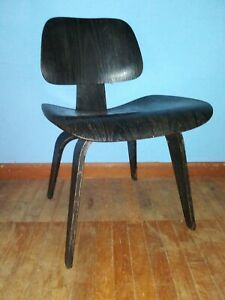 Mid Century Early Herman Miller Black Dcw Chair 5 2 4 Pattern 1 Of 2