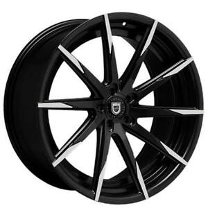 4ea 22 Staggered Lexani Wheels Css 15 Black W Machined Tips Rims S9