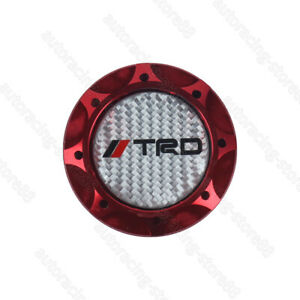 Real Carbon Trd Red Engine Oil Filler Cap Oil Tank Cover Aluminium For Toyota