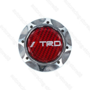 Red Real Carbon Trd Silver Engine Oil Filler Cap Oil Tank Cover For Toyota