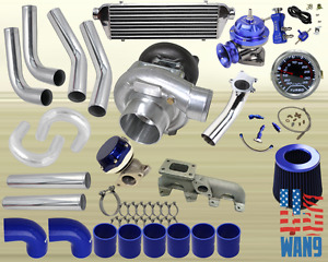 95 02 Chevy S10 Cavalier T3 t4 Turbocharger Turbo Kit Blue manifold bov wg gauge