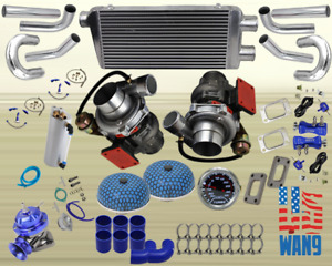 Tt Twin Turbo Kit Charger Piping Bov Blue For 350 Z33 Vq35de Fairlady 370z Nismo