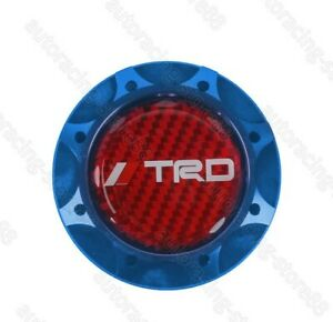 Red Real Carbon Trd Blue Engine Oil Filler Cap Oil Tank Cover For Toyota