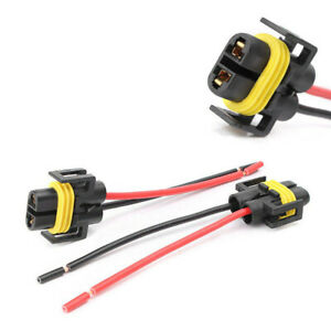 2x High Quality H11 H8 Female Adapter Wiring Harness For Headlights Fog Lights