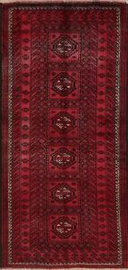 Vintage Geometric Balouch Afghan Oriental Area Rug Wool Hand Knotted 4x8 Carpet